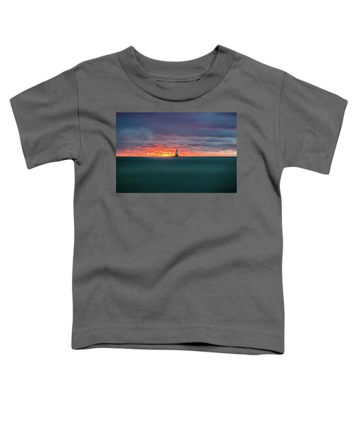 Glowing Sunset On Lake With Lighthouse Toddler T-Shirt