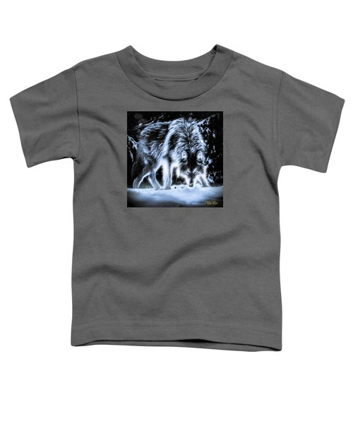Toddler T-Shirt featuring the photograph Glowing Wolf In The Gloom by Rikk Flohr