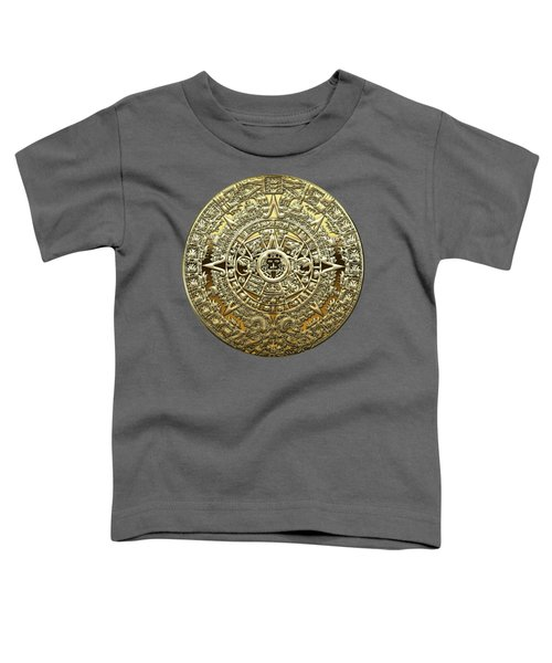 Gold Mayan-aztec Calendar On Brown Leather Toddler T-Shirt