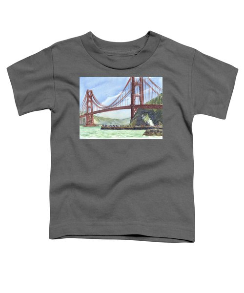Toddler T-Shirt featuring the painting Golden Gate Bridge From Fort Baker, Ca by Judith Kunzle