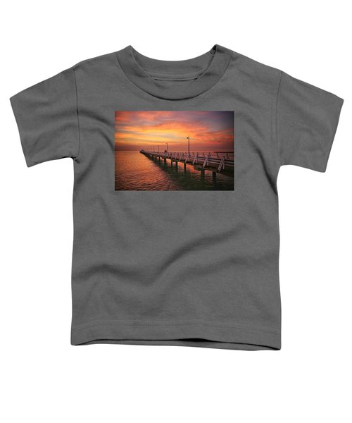 Golden Red Skies Over The Pier Toddler T-Shirt