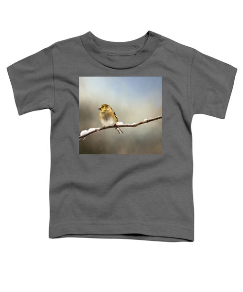 Goldfinch After A Spring Snow Storm Toddler T-Shirt