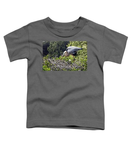 Great Blue Heron On Nest Toddler T-Shirt