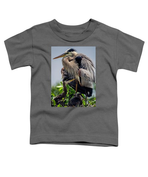 Great Blue Heron With Babies Toddler T-Shirt