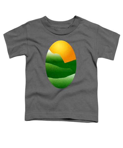 Green Mountain Sunrise Landscape Art Toddler T-Shirt by Christina Rollo