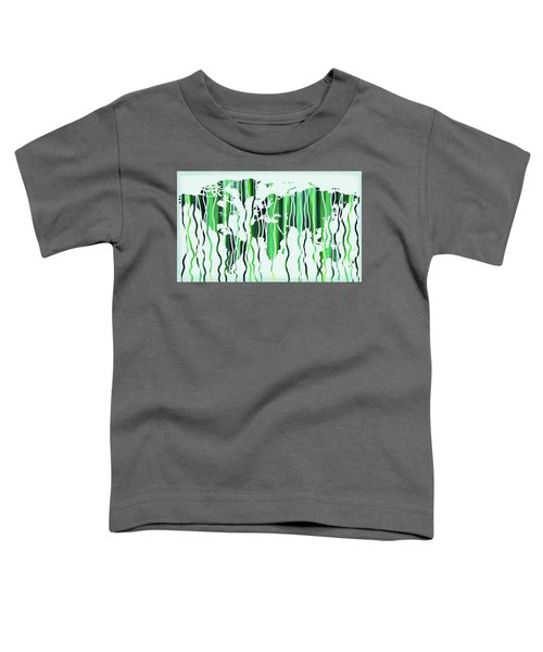 Green Rain Watercolor World Map Toddler T-Shirt