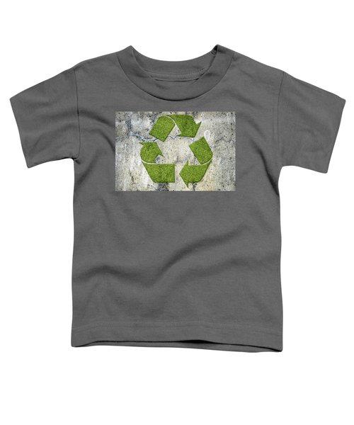 Green Recycling Sign On A Concrete Wall Toddler T-Shirt by GoodMood Art