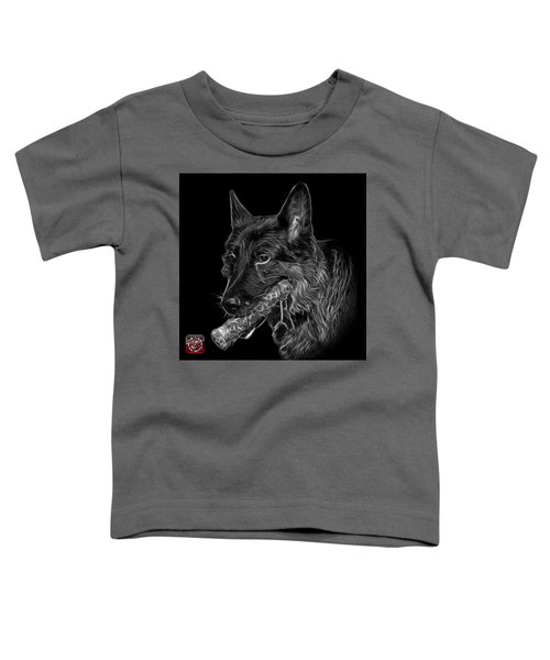 Greyscale German Shepherd And Toy - 0745 F Toddler T-Shirt