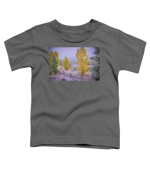 Gros Ventre Grand Teton Fall Snowfall Toddler T-Shirt