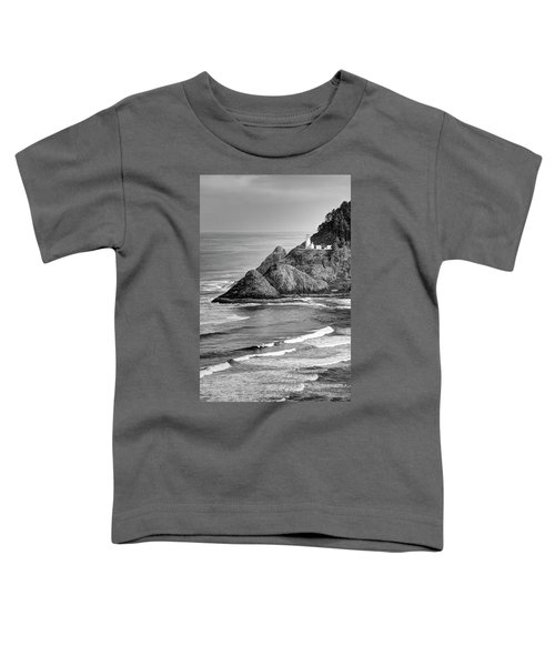 Heceta Head Light In Black And White Toddler T-Shirt