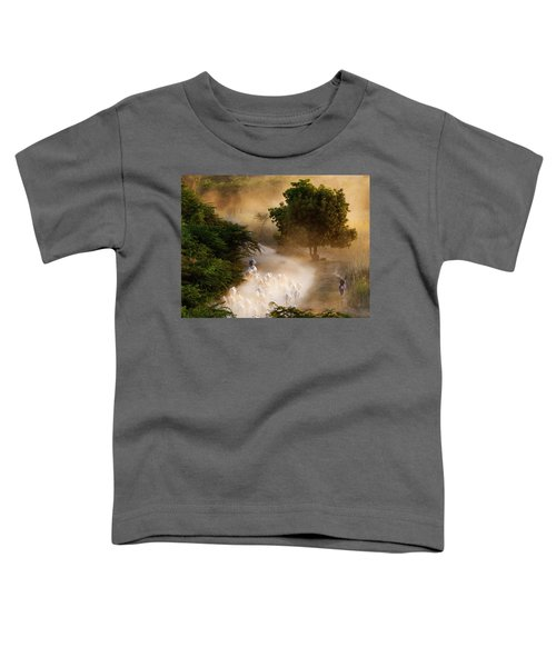 herd and farmer going home in the evening, Bagan Myanmar Toddler T-Shirt