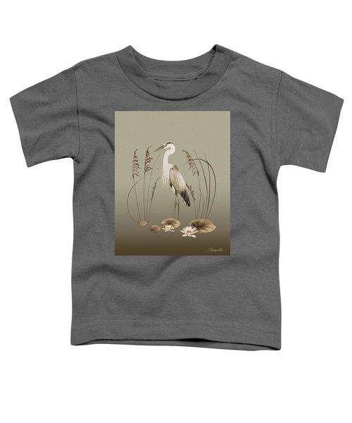 Heron And Lotus Flowers Toddler T-Shirt