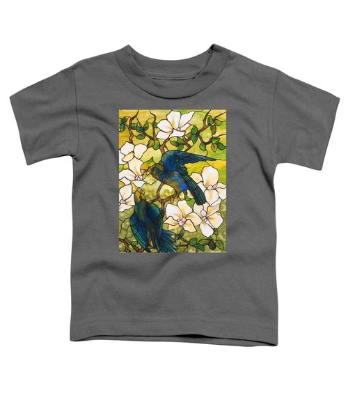 Hibiscus And Parrots Toddler T-Shirt by Louis Comfort Tiffany
