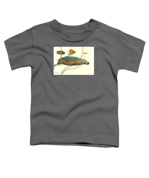 Hippo Swimming With Water Lilies Toddler T-Shirt by Juan  Bosco