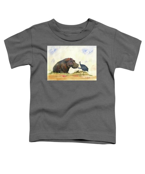 Hippo With Guinea Fowls Toddler T-Shirt
