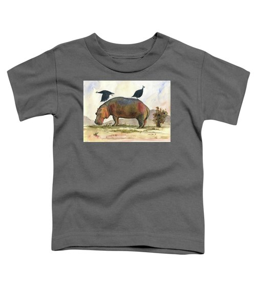 Hippo With Guineafowls Toddler T-Shirt
