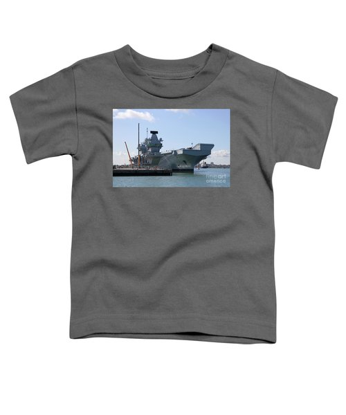 Hms Queen Elizabeth Aircraft Carrier At Portmouth Harbour Toddler T-Shirt