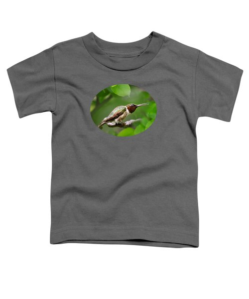 Hummingbird Hiding In Tree Toddler T-Shirt by Christina Rollo