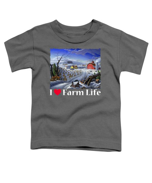 I Love Farm Life Shirt - Rural Winter Country Farm Landscape 2 Toddler T-Shirt