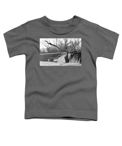 Icicle Laden Branch Over The Waterfall Toddler T-Shirt