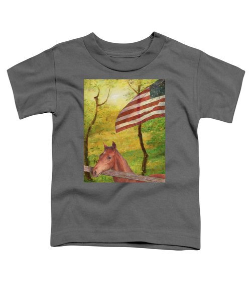 Illustrated Horse In Golden Meadow Toddler T-Shirt