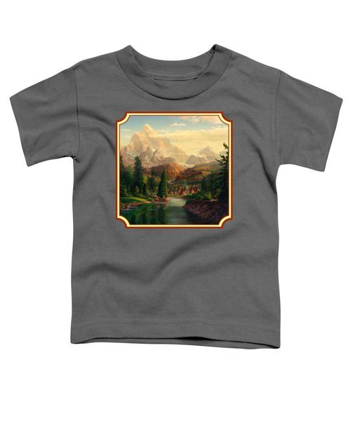 Indian Village Trapper Western Mountain Landscape Oil Painting - Native Americans -square Format Toddler T-Shirt by Walt Curlee