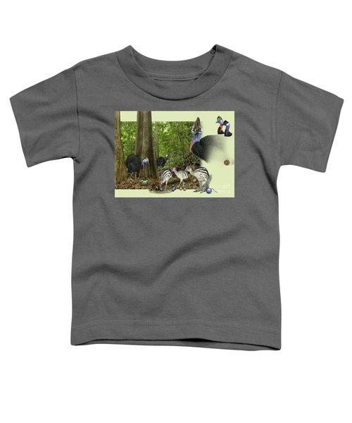 Zoo Nature Interpretation Panel Cassowaries Blue Quandong Toddler T-Shirt