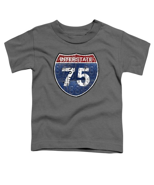 Interstate 75 Highway Sign Recycled Vintage License Plate Art On Striped Concrete Toddler T-Shirt