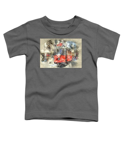Istanbul Turkey Red Trolley Digital Watercolor On Photograph Toddler T-Shirt