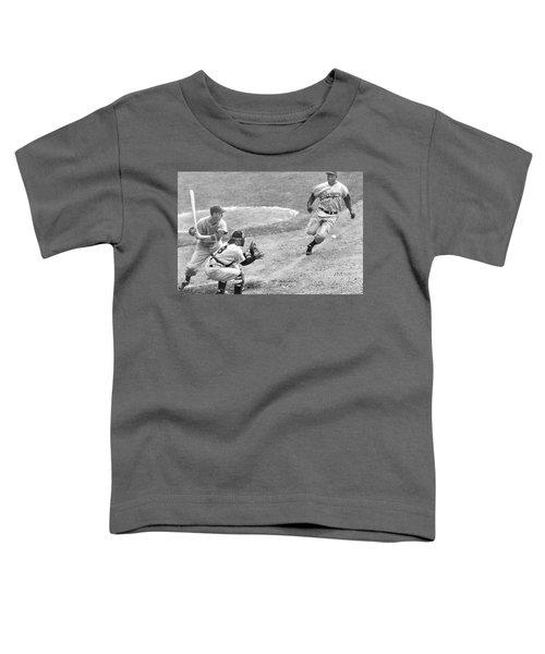 Jackie Robinson Stealing Home Yogi Berra Catcher In 1st Game 1955 World Series Toddler T-Shirt