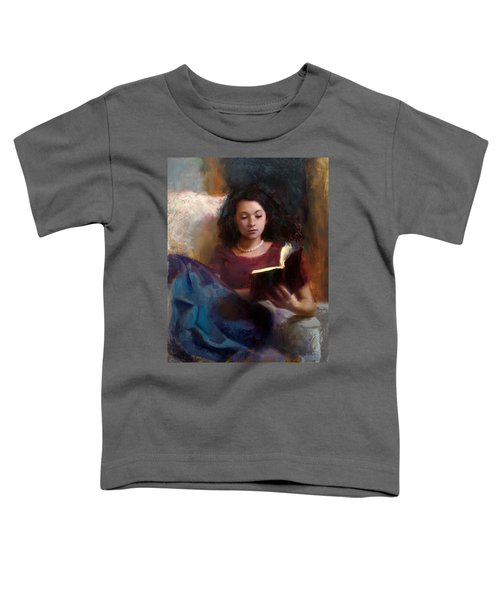Jaidyn Reading A Book 1 - Portrait Of Young Woman - Girls Who Read - Books In Art Toddler T-Shirt