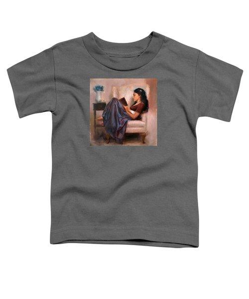 Jaidyn Reading A Book 2 - Portrait Of Woman Toddler T-Shirt