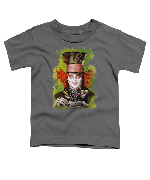 Johnny Depp As Mad Hatter Toddler T-Shirt by Melanie D