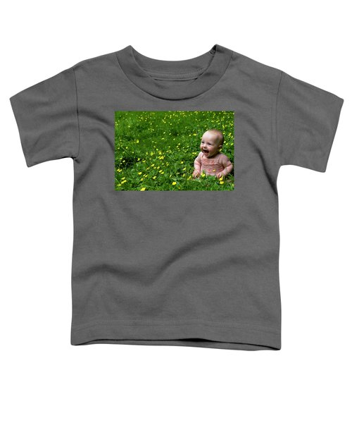 Joyful Baby In Flowers Toddler T-Shirt