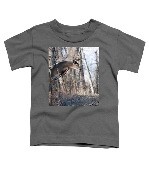 Jumping White-tail Buck Toddler T-Shirt