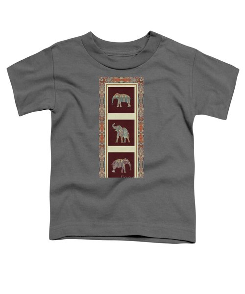 Kashmir Elephants - Vintage Style Patterned Tribal Boho Chic Art Toddler T-Shirt by Audrey Jeanne Roberts