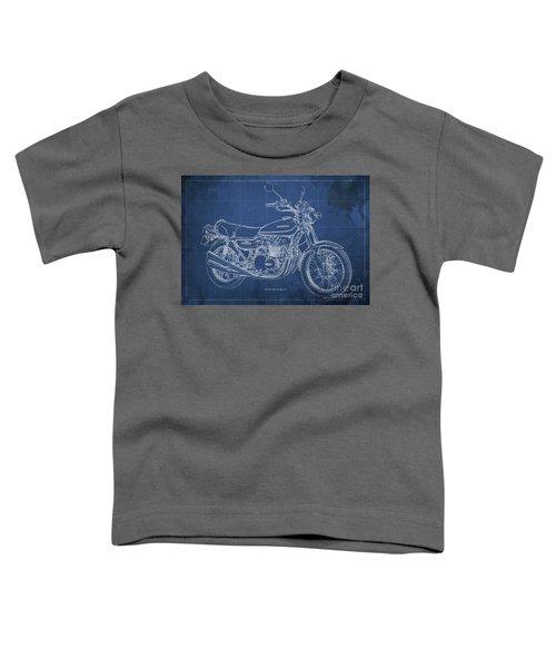 Kawasaki Motorcycle Blueprint, Mid Century Blue Art Print Toddler T-Shirt