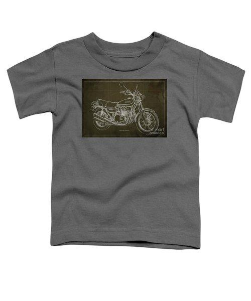 Kawasaki Motorcycle Blueprint, Mid Century Brown Art Print Toddler T-Shirt