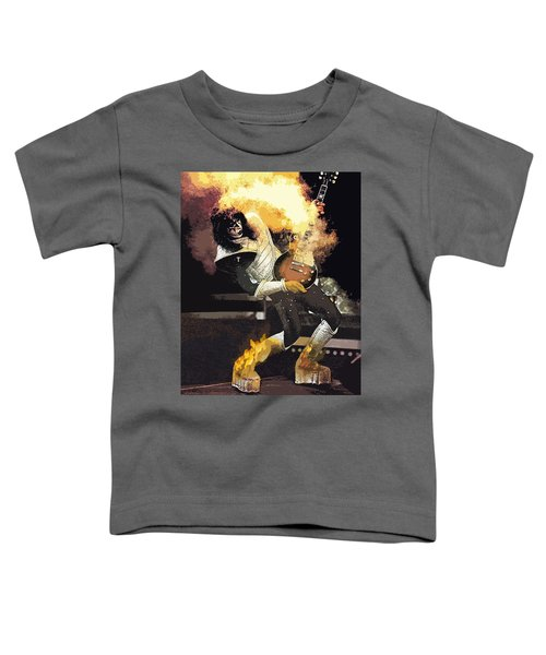 Toddler T-Shirt featuring the digital art Kiss Ace Frehley Guitar On Fire by Joy McKenzie