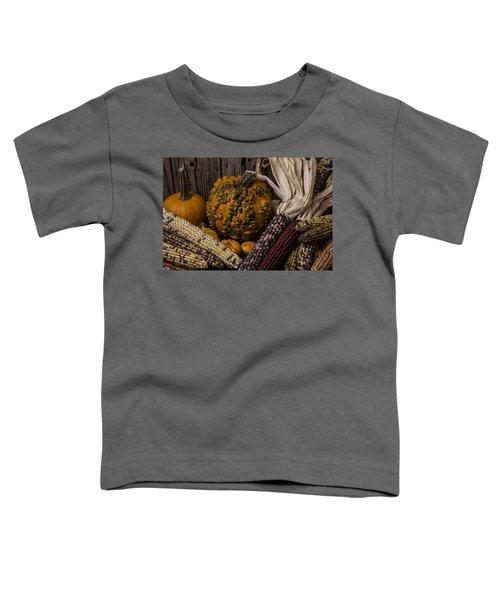 Knuklehead Pumpkin And Indian Corn Toddler T-Shirt