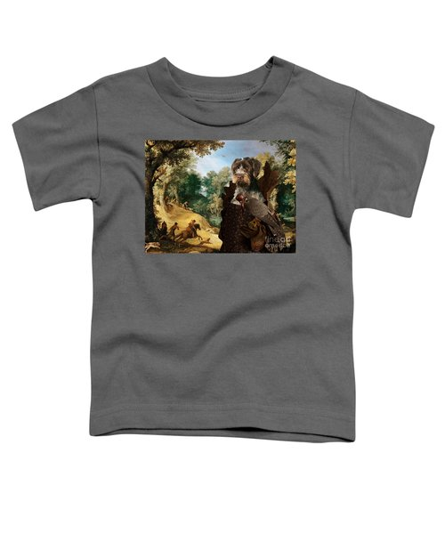 Korthals Pointing Griffon Art Canvas Print - The Hunters And Lady Falconer Toddler T-Shirt