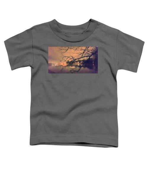 Foggy Lake At Night Through Branches Toddler T-Shirt