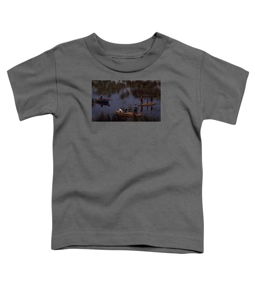 Toddler T-Shirt featuring the photograph Lake Titicaca Reed Boats by Travel Pics