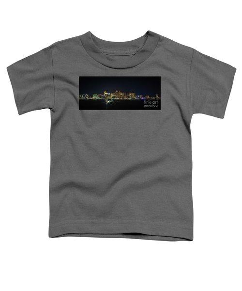 Large Panoramic Of Downtown Boston At Night Toddler T-Shirt