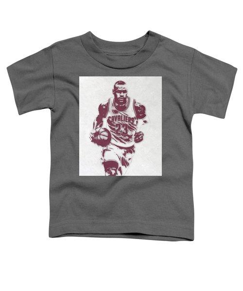 Lebron James Cleveland Cavaliers Pixel Art 4 Toddler T-Shirt by Joe Hamilton