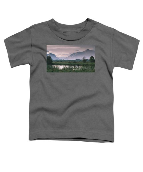 Leisure Boat On River Adda In Northern Italy, Close To Lake Como - Reflection Of Italian Alps Toddler T-Shirt
