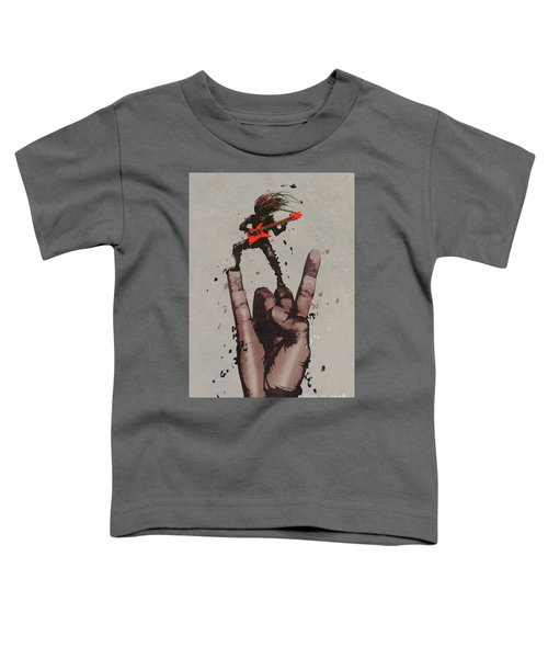 Toddler T-Shirt featuring the painting Let's Rock by Tithi Luadthong