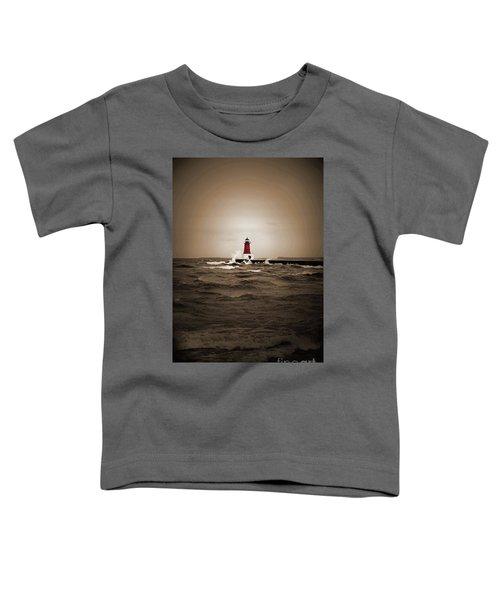 Lighthouse Glow Sepia Spot Color Toddler T-Shirt