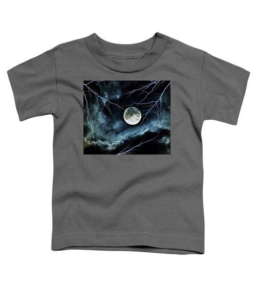 Lightning Sky At Full Moon Toddler T-Shirt