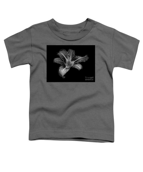 Lily Raindrops In Giverny, France, Black And White Toddler T-Shirt